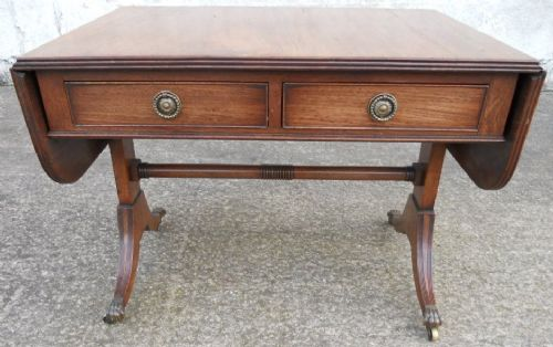 Antique Regency Style Yew Sofa Dropleaf Coffee Table - SOLD